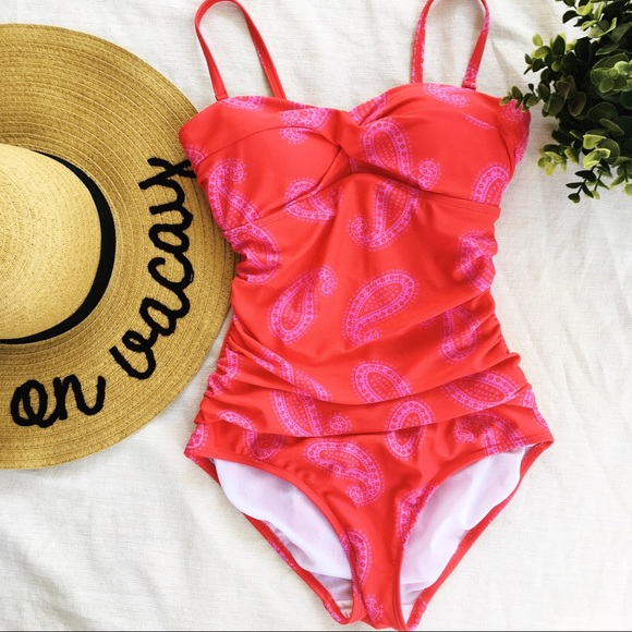 8f8dde8572 Boden Swim   Red Pink One Piece Paisley Suit Size 4   Poshmark